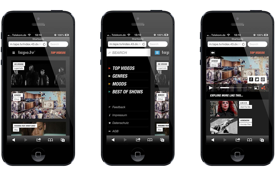 tape.tv mobile app design